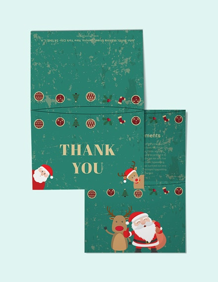 elegant christmas thank you card psd template