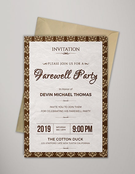 elegant classic farewell invitation template
