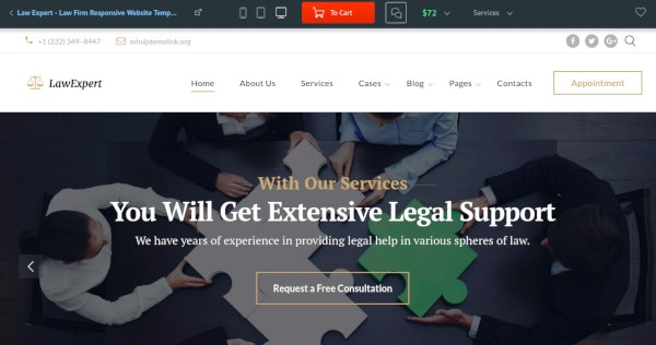 elegant law firm responsive website template