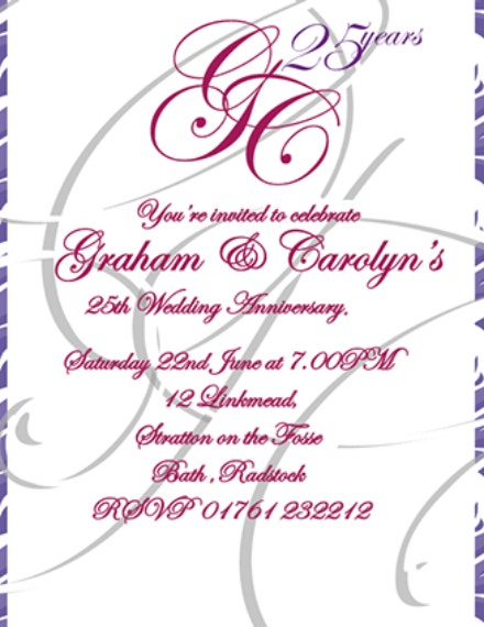 Elegant Script Anniversary Invitation Design