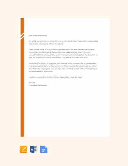 email resignation letter without notice period template1