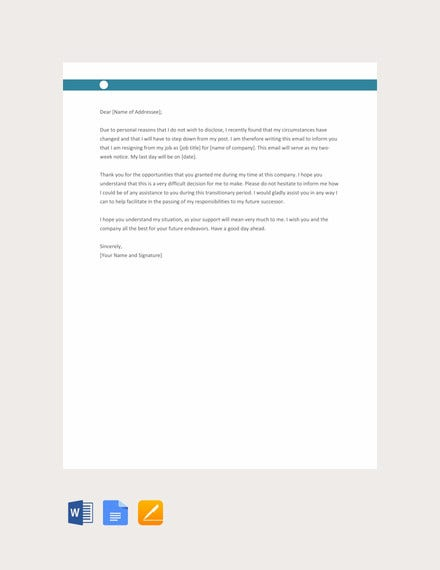 11+ Personal Reasons Resignation Letter Templates - PDF, DOC ...