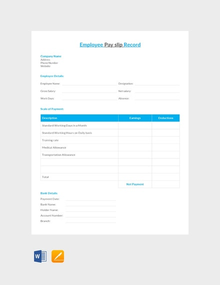 employee pay slip record sheet
