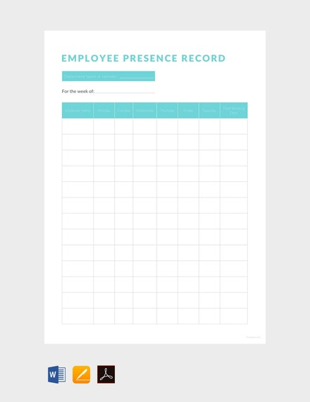 employee presence record sheet