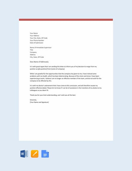 employee resignation letter due to health reasons