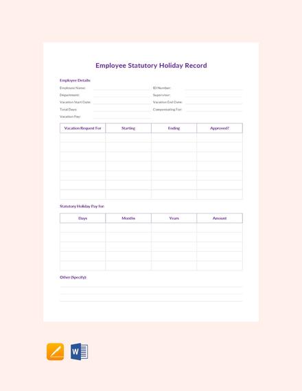 Employee Statutory Holiday Record Sheet
