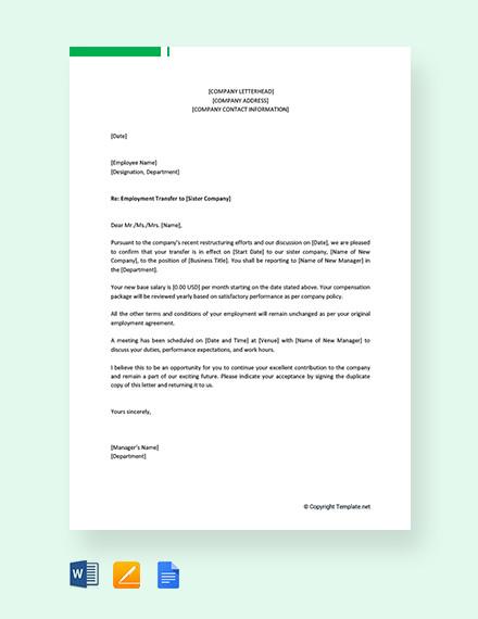 13+ Employee Transfer Letter Templates - DOC, PDF | Free