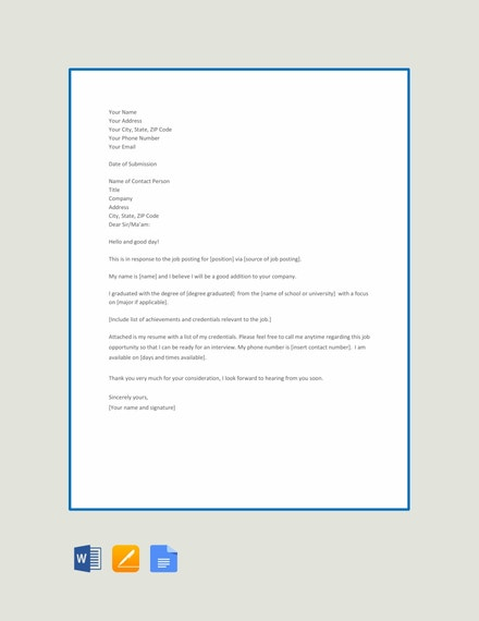 employment application letter template