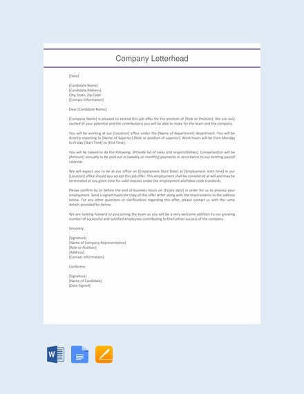 employment offer letter template1