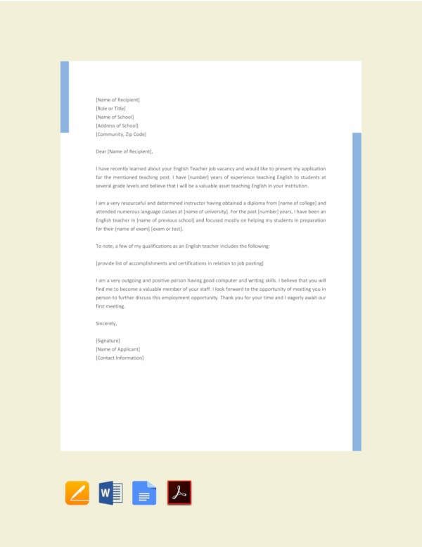16 Job Application Letter For Teacher Templates Pdf Doc Free