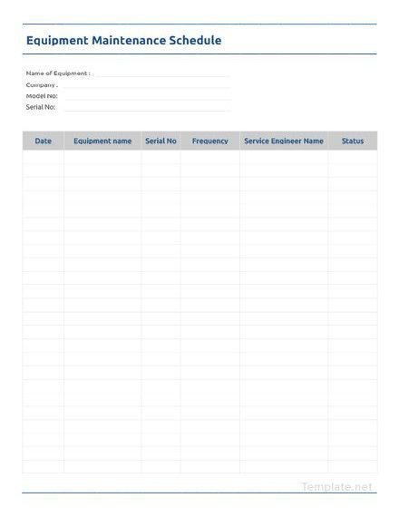 Equipment Maintenance Schedule