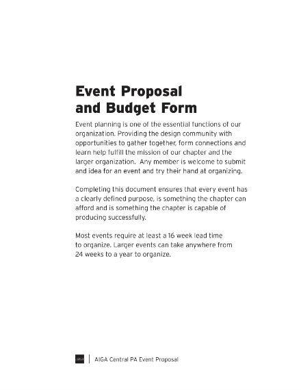 event proposal and budget form example