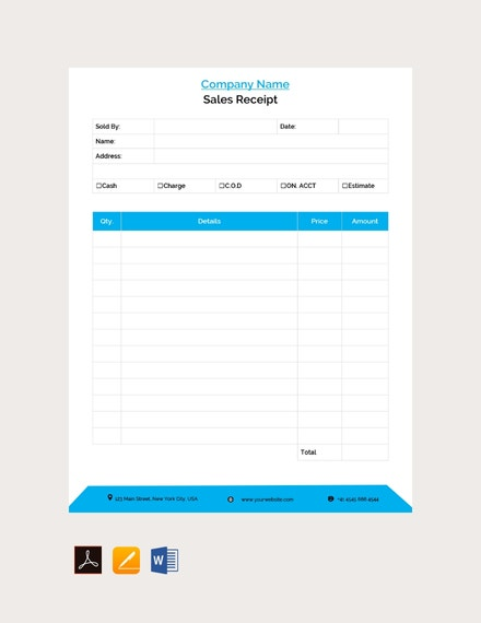 example blank sales receipts template