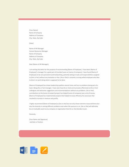 experience letter for employee template