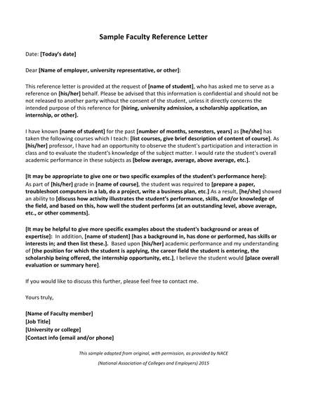 faculty reference letter example