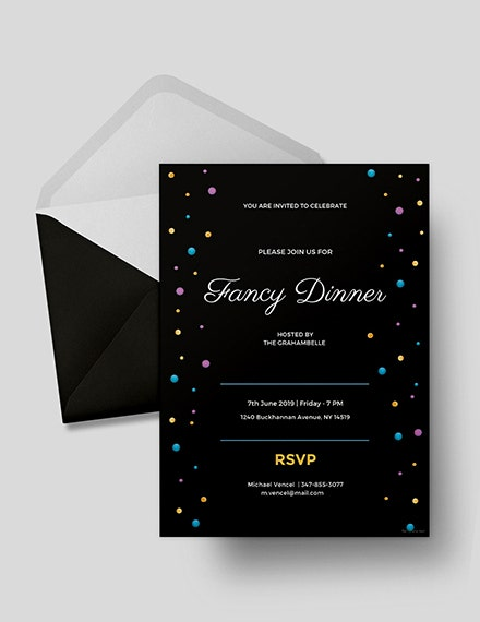 fancy dinner invitation card template