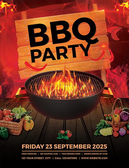 fiery bbq weekend flyer template