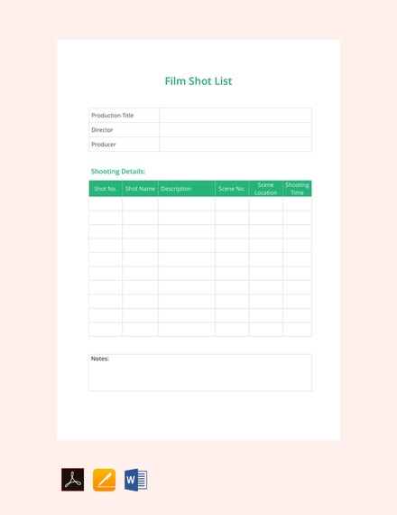 film shot list template