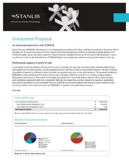 financial business investment proposal sample