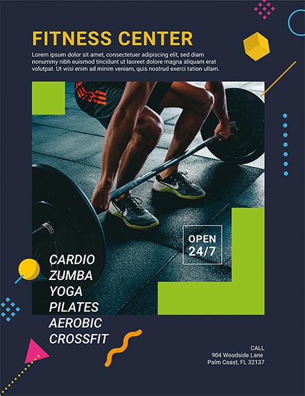 fitness center flyer template 1x