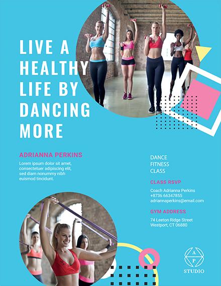fitness class flyer template 1x