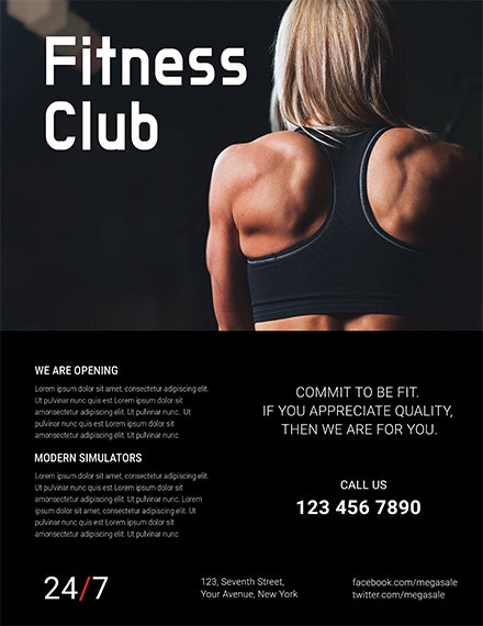 fitness club flyer template 1x