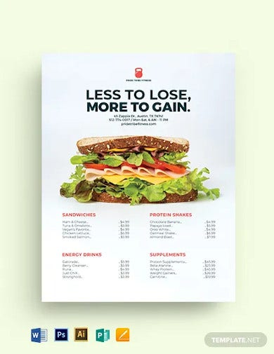 fitness price list template