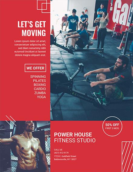 fitness studio flyer template 1x