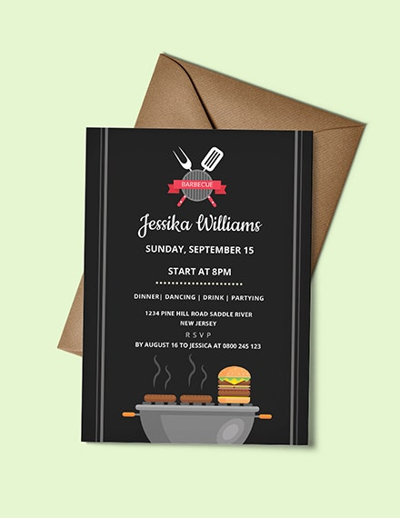 Flat Barbecue Party Invitation Sample