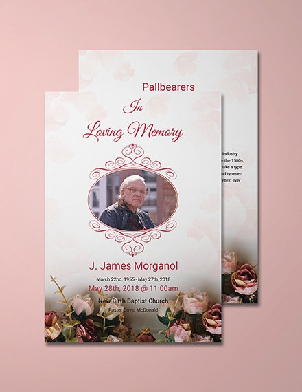 floral catholic funeral invitation template