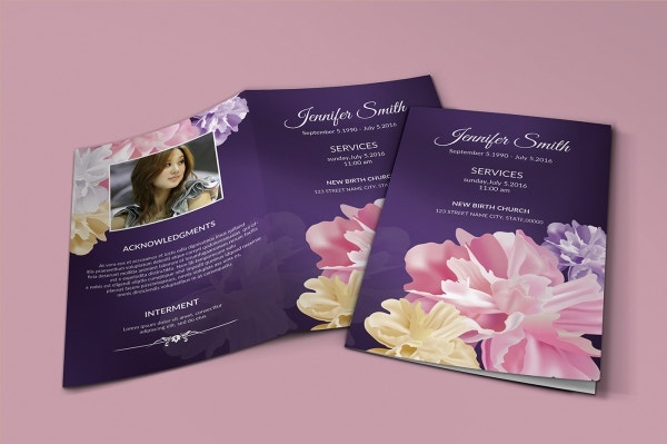 Floral Funeral Invitation Program Sample