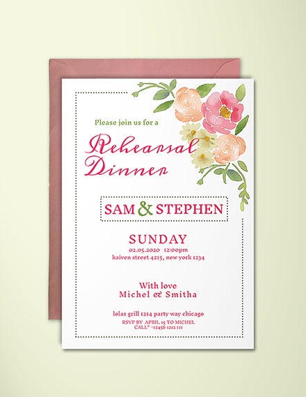 floral rehearsal dinner invitation template