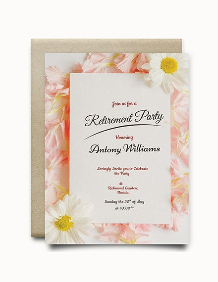 floral retirement party invitation template