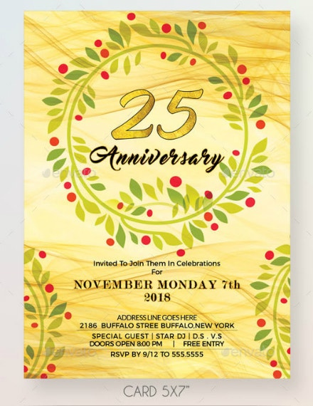 Floral Wreath Anniversary Invitation Sample