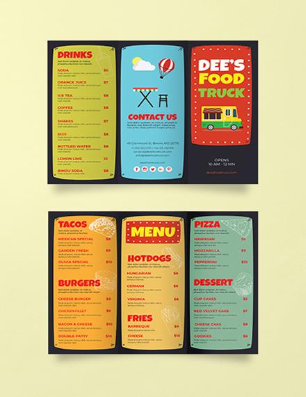 food truck brochure template in illustrator