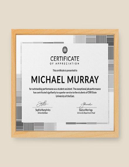 formal appreciation certificate