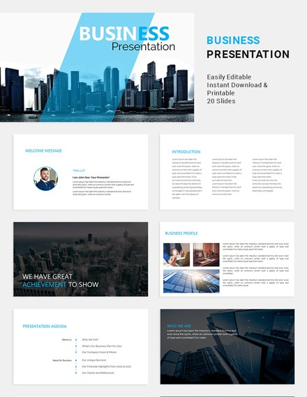 formal business presentation example