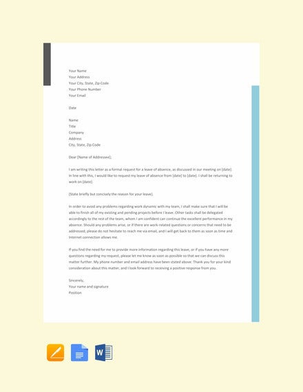 formal leave letter template2