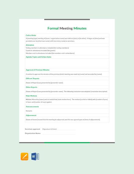 minute meeting format sample