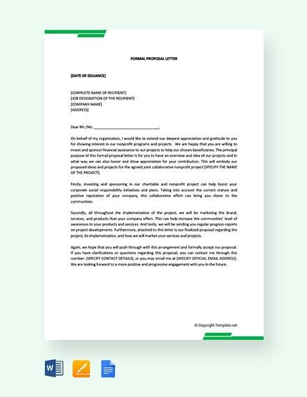 formal proposal letter