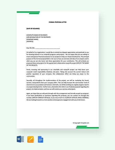 10 Proposal Letter Templates Free Sample Example Format Download