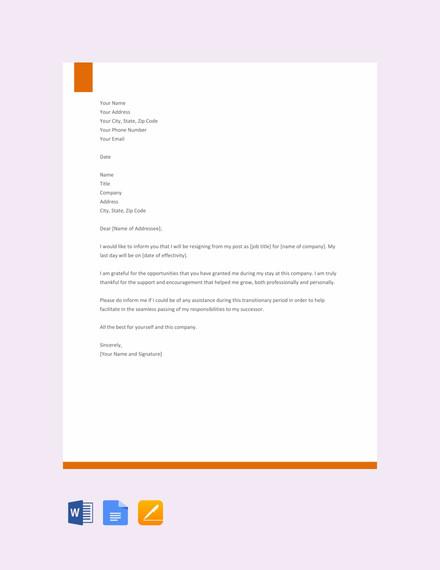 formal resignation letter template1