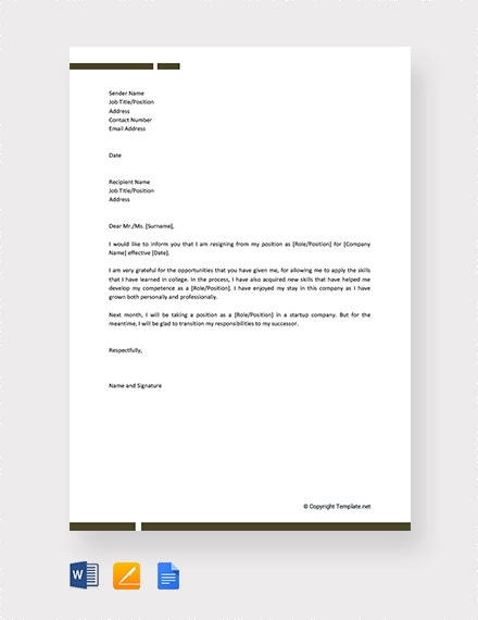 formal resignation letter for company2