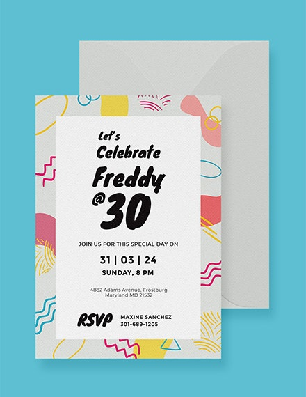 free 30th birthday party invitation card template