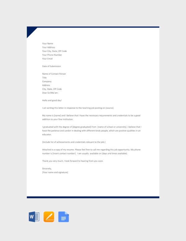 free application letter for teacher template
