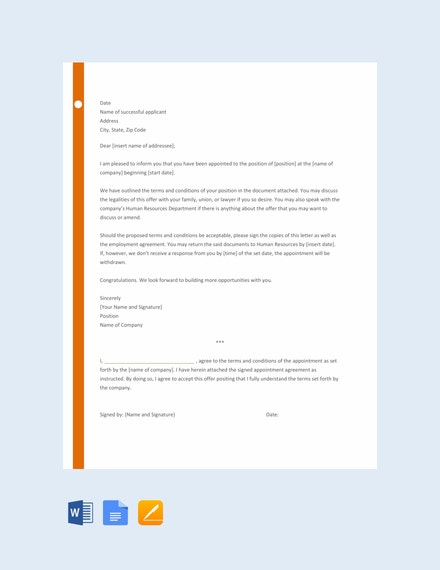 free appointment letter template for employee