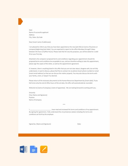 free appointment letter template
