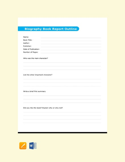 free biography book report outline template 440x570 1