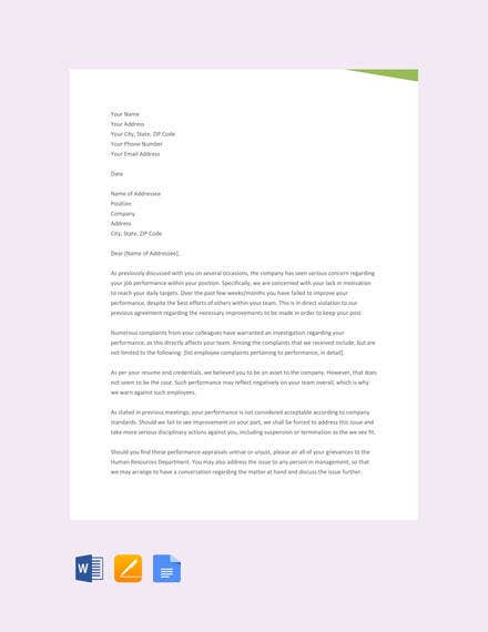 free business warning letter