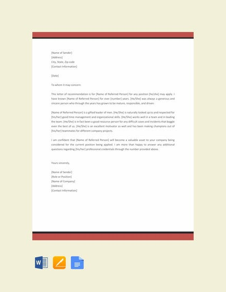 12+ Sample Character Reference Letter Templates - PDF, DOC